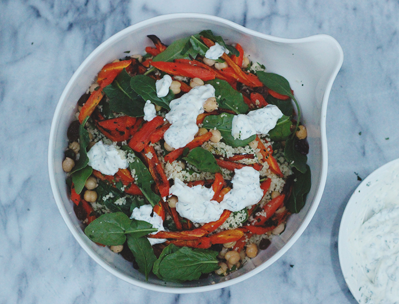carrot couscous salad with minted yoghurt