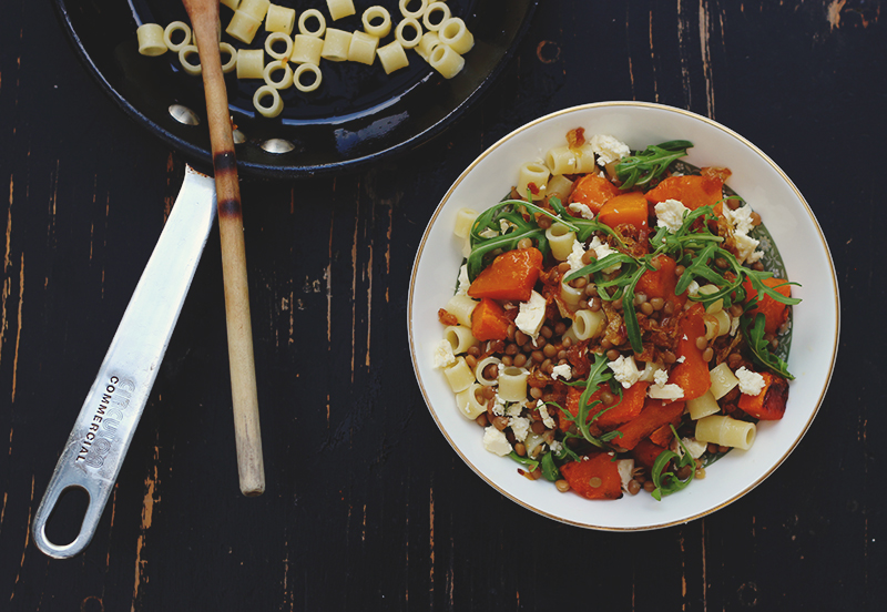 pumpkin salad with feta and lentils