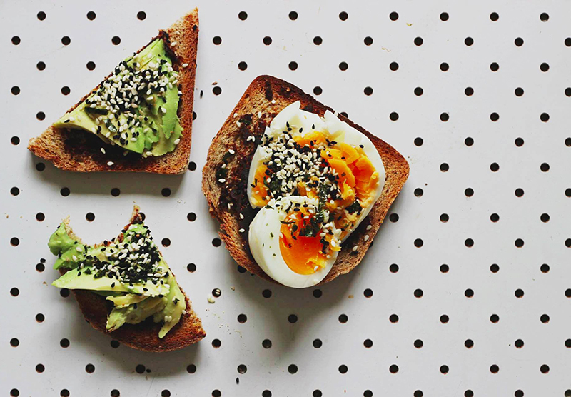 miso toast with egg, avo and gomasio